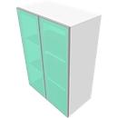 Opzetkast SOLUS, glazen deuren, gesatineerd, 2 ordnerhoogten,  H 720 x B 800 x D 440 mm, wit