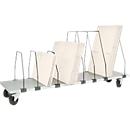 Packpool ondertafel-magazijn, verrijdbaar, 7 duwbeugels, voor inpaktafels B 2000 mm