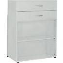 PALENQUE combi-boekenkast, 3 OH, 2 open vakken + 2 laden, B 800 x D 400 x 1104 mm, lichtgrijs