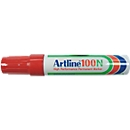 Permanent marker Artline 100, beitelvormige punt, rood, 12 stuks