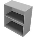 PHENOR boekenkast, spaanplaat, 2 OH, B 860 x D 430 x H 860 mm, zilverkleurig