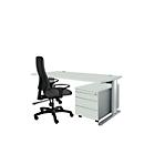 Planova Basic bureautafel en verrijdbaar ladeblok 1233, lichtgrijs/blank aluminium