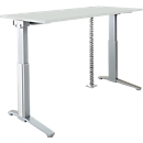 PLANOVA ERGOSTYLE Schreibtisch, elektr. höhenverstellbar B 1600 mm + Akzentset + Kabelschlange GRATIS, lichtgrau