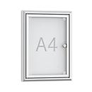 platte wandvitrines - 1 x A4 - met aluminium frame deur