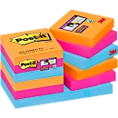 POST-IT Haftnotizen Super sticky, 48 mm x 48 mm, 90 Blatt, 12er Pack, Bangkok Collection