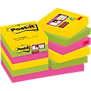 Post-it® Haftnotizen Super sticky, Rio de Janeiro Collection, 48 x 48 mm, 90 Blatt, 12 Blöcke