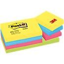POST-IT notitieblaadjes Notes, diverse kleuren, 51 mm x 38 mm, pak van 12, 4 kleuren