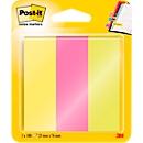 Post-it® page markers 671-PBO, 3 x 50 vellen zelfklevende notitieblaadjes in verschillende kleuren, b 73 x h 22,2 mm