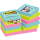 Post-it® Super Sticky Notes, Miami-kleurencollectie, 12 blokken à 90 vellen