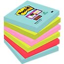 Post-it® Super Sticky Notes, Miami-kleurencollectie, formaat 76 x 76 mm, 6 blokken
