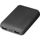 Powerbank, 2 x USB, 10.000 mAh, mit Ladestandsanzeige, inkl. USB/Micro-USB-Ladekabel, schwarz