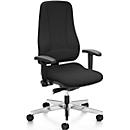 Prosedia Bürostuhl LEANOS V ERGO, Synchronmechanik, ohne Armlehnen, ergonomische Rückenlehne, schwarz/alupoliert