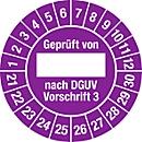 """Prüfplakette """"Geprüft von - nach DEGUV Vorschrift 3"""", 2021-2030, 100 St. à Ø 30 mm, Folie, violett"""