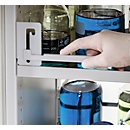 Relingsystem für Gefahrstoffschrank Asecos V-LINE Typ 90, Stahlblech, zusätzlicher Kippschutz