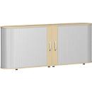 Roldeurkast met dwarse roldeuren Alicante, B 2000 x D 400 x H 828 mm, esdoornpatroon