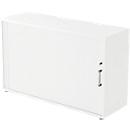 Roldeurkast TARVIS, 2 ordnerhoogten, B 1200 x D 400 x H 825 mm, afsluitbaar & stapelbaar, wit/wit
