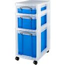 Rollwagen mit 3 transparent-blauen Boxen, 690 mm hoch