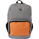 Rucksack MALMÖ, 300D Polycanvas, mit Kopfhöreröffnung f. Smartphone o. MP3-Player, Werbedruck 120 x 100 mm, orange