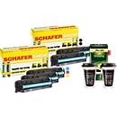 Schäfer Shop Sparset 5x Toner HP 305er + gratis 2 Thermobecher, 500 g Jacobs Krönung Kaffee