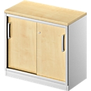 Schiebetürenschrank TETRIS SOLID, 1,5 OH, B 800 mm, Ablagefach, 25 mm Abdeckplatte, Ahorn-Dekor/weißalu