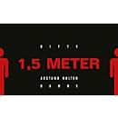 Schmutzfangmatte 1,5m Abstand halten, Design 4, für innen, Polyamid/Vinyl, L 1500 x B 900 mm, schwarz/rot/weiß