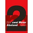Schmutzfangmatte 2m Abstand halten, Design 5, für innen, Polyamid/Vinyl, L 1200 x B 1800 mm, rot/schwarz/weiß