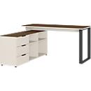 Schreibtisch Ancona, Bügelfuß, Sideboard, B 1450 x T 1460 x H 740 mm, Nussbaum/Kaschmir