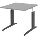 Schreibtisch BARI, Rechteck, Form A, C-Fuß, B 800 x T 800 mm, mittelgrau