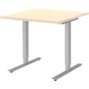 Schreibtisch BARI, T-Fuß, Rechteck, B 800 x T 800 x H 680-820 mm, Ahorn/Alu