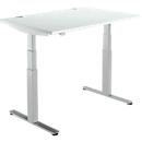 Schreibtisch DRIVE UP 2, T-Fuß, Rechteck, 2-stufig elektrisch höhenverstellbar, B 1200 mm, lichtgrau/weißalu