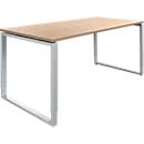 Schreibtisch, höheneinstellbar, Rechteckform, Bügelfüß, Breite 1600 mm, Kirsche-Romana