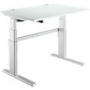 Schreibtisch Komfort, 2-stufig elektrisch höhenverstellbar, B 1200 mm, lichtgrau/weißalu