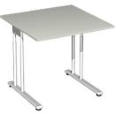 Schreibtisch PALENQUE, C-Fuß, Rechteck, B 800 x T 800 x H 680-820 mm, lichtgrau