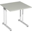 Schreibtisch PALENQUE, C-Fuß, Rechteck, B 800 x T 800 x H 720 mm, lichtgrau