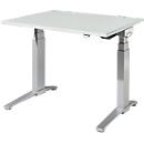 Schreibtisch PLANOVA ergoSTYLE, C-Fuß, Rechteck, zweistufig elektr. höhenverstellbar, B 1200 mm, lichtgrau/weißalu