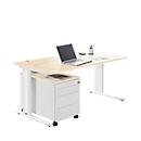 Schreibtisch+ Rollcontainer+ Akzentleisten PLANOVA BASIC, Ahorn-Dekor/weiß