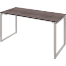 Schreibtisch TEQSTYLE, Kufengestell, Rechteck, B 1600 x T 800 x H 680 - 820 mm, Quarzit/alu