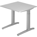 Schreibtisch TOPAS LINE, manuell höheneinstellbar, B 800 mm, lichtgrau/silber/silber