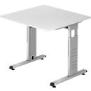 Schreibtisch ULM, C-Fuß, Rechteck, B 800 x T 800 x H 650-850 mm, lichtgrau