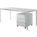 Schreibtisch und Rollcontainer PROPLANA Komplettangebot , lichtgrau/weißalu