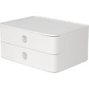 Schubladenbox HAN Allison Smart-Box, 2 Schübe mit Trennwänden, Kabelhalter, stapelbar, ABS-Kunststoff, weiß