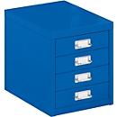 Schubladenschrank DIN A4, mit 4 Schubladen, 330 mm hoch, enzianblau
