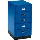 Schubladenschrank DIN A4, mit 5 Schubladen, 675 mm hoch, enzianblau