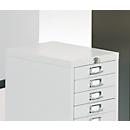 Schubladenschrank mit Zentralverschluss, 15 Schubladen, 940 mm hoch, lichtgrau