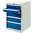Schubladenschrank SB 5801, lichtgrau/blau