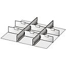 Schuifladenonderverdeling, 2 tussenliggers/6 scheidingswanden, 50 mm