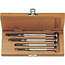 Set 4 precisie kruiskopschroevendraaiers in houten koffer