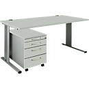 Set PLANOVA BASIC: bureau B 1600 mm + verrijdbare ladeblok 1233, lichtgrijs/blank alu