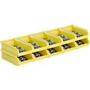 Sichtlagerkästen Serie LF210 SSI Schäfer, stapelbar, 0,5 l, 10 Stück, mit Nuten u. Griffmulde, gelb