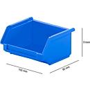 Sichtlagerkasten SSI Schäfer LF 110, Polypropylen, L 92 x B 100 x H 51 mm, 0,26 l, blau
